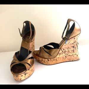 Christian Dior Bronze Gold Wedges size 37